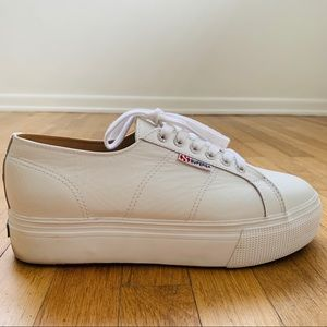 Superga leather platform sneakers